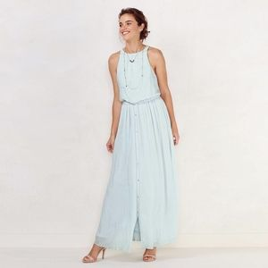 LC Lauren Conrad Blue Shimmer Halter Maxi Dress S